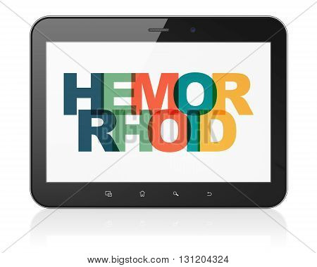 Medicine concept: Tablet Computer with Painted multicolor text Hemorrhoid on display, 3D rendering