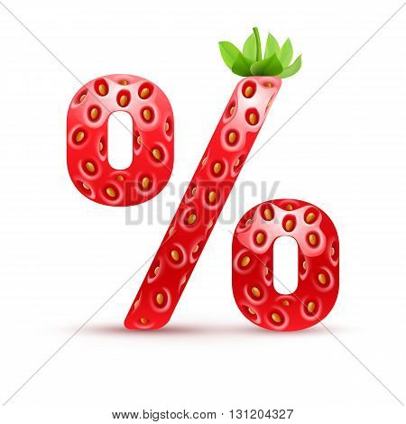Percent symbol in strawberry style with green leaves