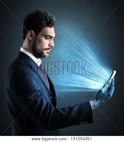 Man with cell phone in his hand