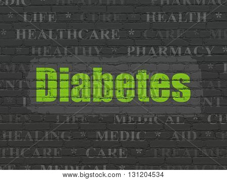 Healthcare concept: Painted green text Diabetes on Black Brick wall background with  Tag Cloud