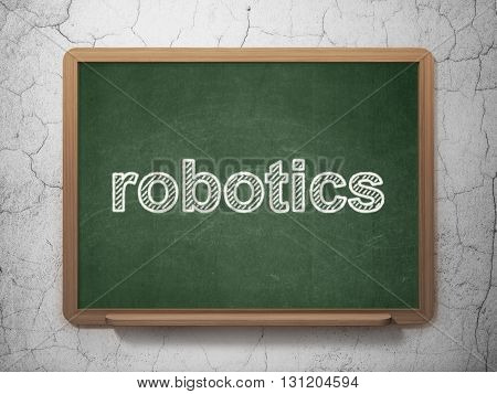 Science concept: text Robotics on Green chalkboard on grunge wall background, 3D rendering