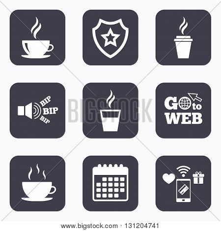 Mobile payments, wifi and calendar icons. Coffee cup icon. Hot drinks glasses symbols. Take away or take-out tea beverage signs. Go to web symbol.