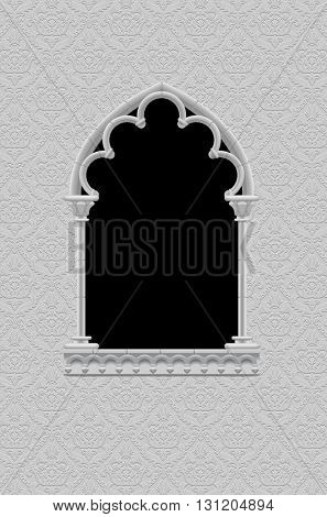 Classic frame in form of gothic decorative window on the ornamental background in black and white. Vintage frame, cover and poster. Vector Illustration