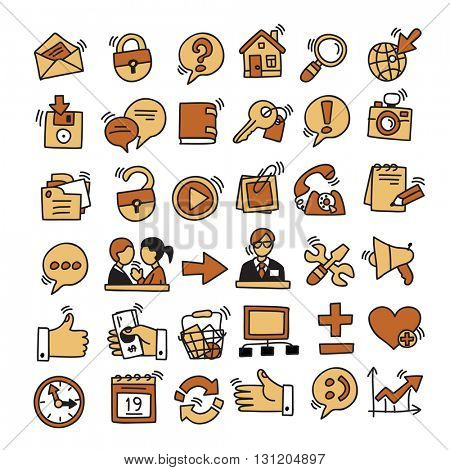 Set of hand drawing website and internet icons. Vector Illustration