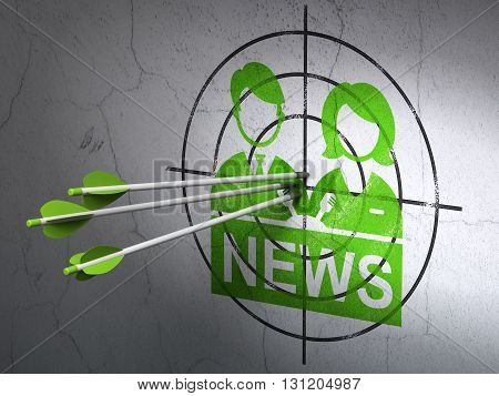 Success news concept: arrows hitting the center of Green Anchorman target on wall background, 3D rendering