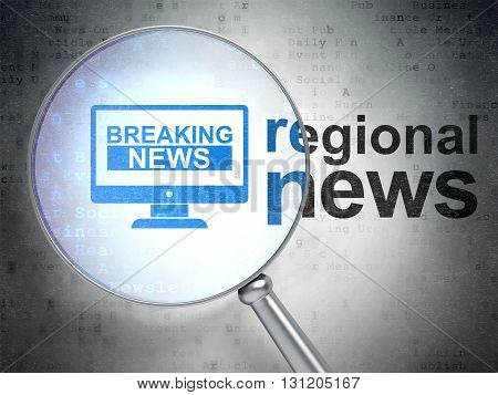 News concept: magnifying optical glass with Breaking News On Screen icon and Regional News word on digital background, 3D rendering