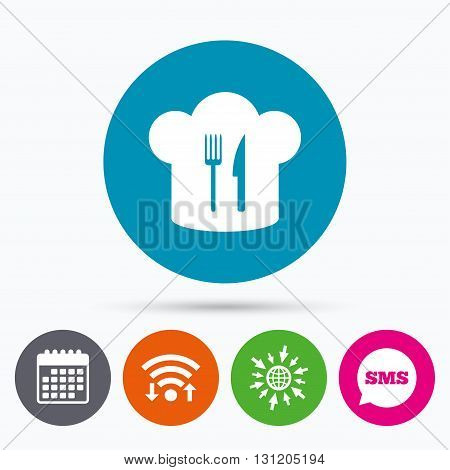 Wifi, Sms and calendar icons. Chef hat sign icon. Cooking symbol. Cooks hat with fork and knife. Go to web globe.