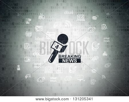 News concept: Painted black Breaking News And Microphone icon on Digital Data Paper background with  Hand Drawn News Icons