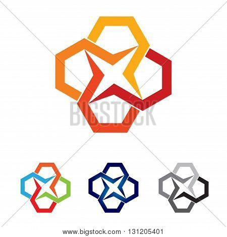 Symbol of Colorful Abstract Chain Star Symbol