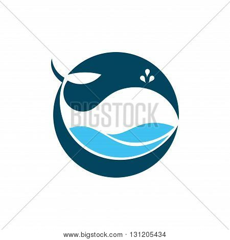 Symbol of Circle Ocean Big Whale Fish