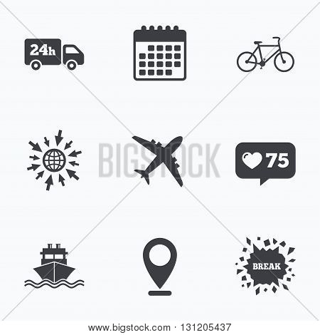 Calendar, like counter and go to web icons. Cargo truck and shipping icons. Shipping and eco bicycle delivery signs. Transport symbols. 24h service. Location pointer.