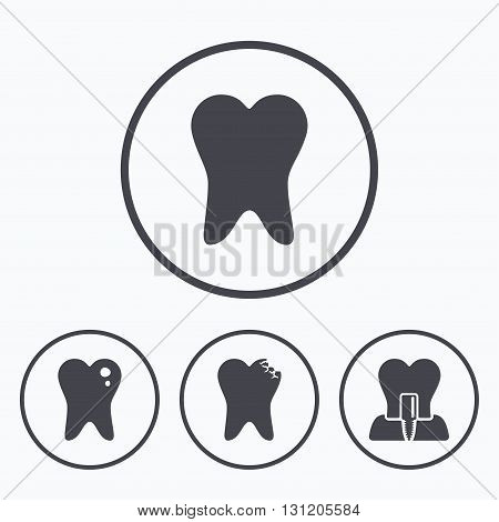 Dental care icons. Caries tooth sign. Tooth endosseous implant symbol. Icons in circles.