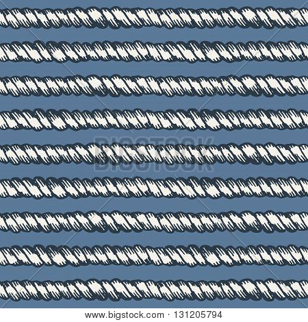 Marine rope line seamless pattern. Endless navy illustration with white grunge rope ornament, horizontal cord strokes on blue background. Trendy textured backdrop. For fabric, wallpaper, wrapping.