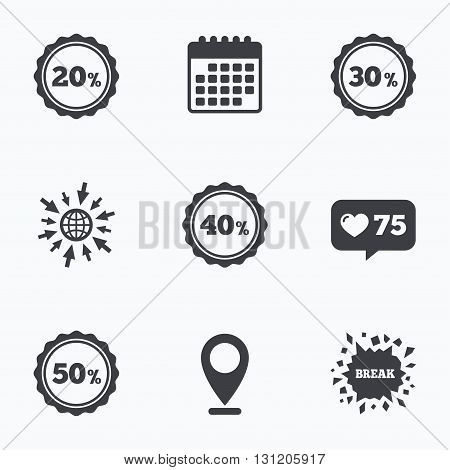 Calendar, like counter and go to web icons. Sale discount icons. Special offer stamp price signs. 20, 30, 40 and 50 percent off reduction symbols. Location pointer.