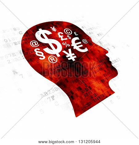 Learning concept: Pixelated red Head With Finance Symbol icon on Digital background