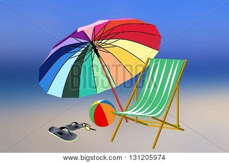 Beach accessories on blurred background. Flip flops sunglasses chair ball and beach umbrella. 5 pieces