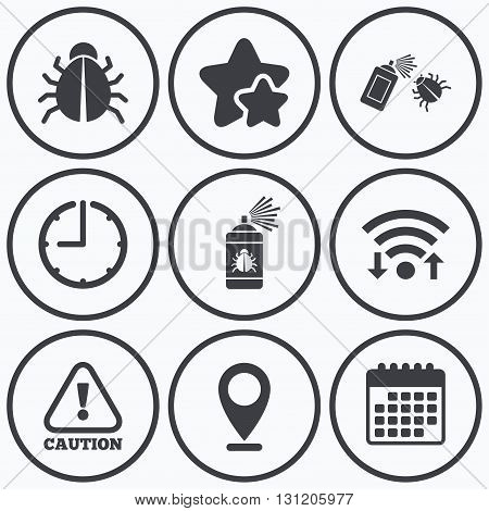 Clock, wifi and stars icons. Bug disinfection icons. Caution attention symbol. Insect fumigation spray sign. Calendar symbol.