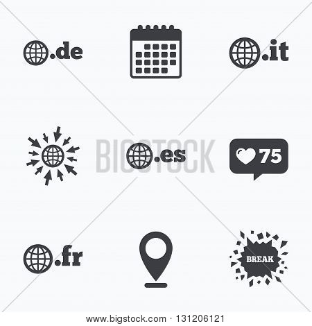 Calendar, like counter and go to web icons. Top-level internet domain icons. De, It, Es and Fr symbols with globe. Unique national DNS names. Location pointer.