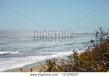 Ocean view from the cliff in Malibu California