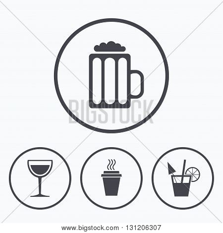 Drinks icons. Take away coffee cup and glass of beer symbols. Wine glass and cocktail signs. Icons in circles.