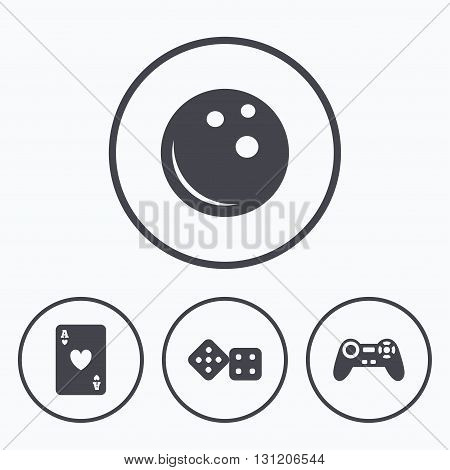 Bowling and Casino icons. Video game joystick and playing card with dice symbols. Entertainment signs. Icons in circles.