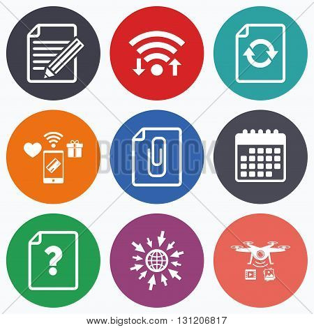 Wifi, mobile payments and drones icons. File refresh icons. Question help and pencil edit symbols. Paper clip attach sign. Calendar symbol.