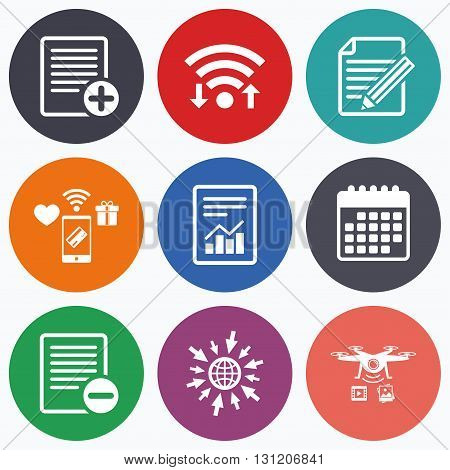 Wifi, mobile payments and drones icons. File document icons. Document with chart or graph symbol. Edit content with pencil sign. Add file. Calendar symbol.