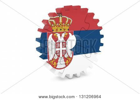 Serbian Industry Concept - Flag Of Serbia 3D Cog Wheel Puzzle Illustration