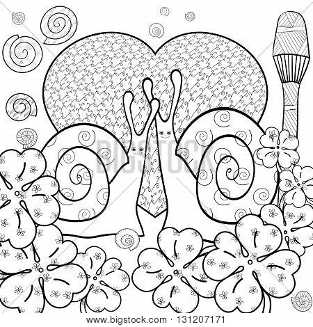 Cute snail adult coloring book page. Snails in whimsical garden. Big heart, love. Magic mushroom. Shells. Clover leaves, luck. Line art vector illustration.