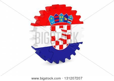 Croatian Industry Concept - Flag Of Croatia 3D Cog Wheel Puzzle Illustration