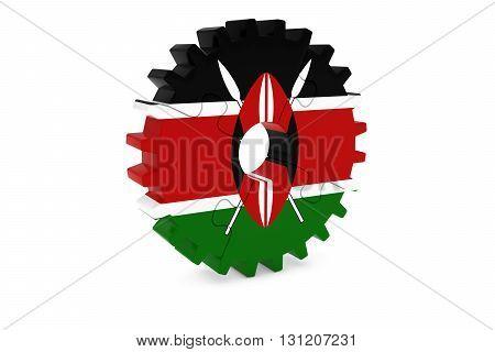 Kenyan Industry Concept - Flag Of Kenya 3D Cog Wheel Puzzle Illustration