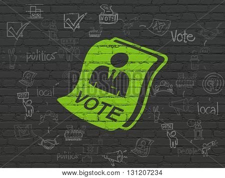 Politics concept: Painted green Ballot icon on Black Brick wall background with Scheme Of Hand Drawn Politics Icons