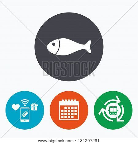 Fish sign icon. Fishing symbol. Mobile payments, calendar and wifi icons. Bus shuttle.
