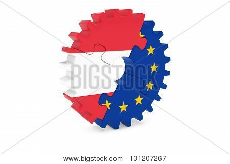 Austrian And European Cooperation Concept 3D Illustration