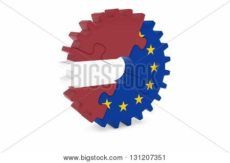 Latvian And European Cooperation Concept 3D Illustration
