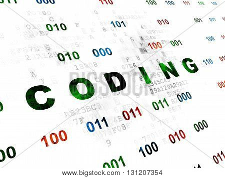 Software concept: Pixelated green text Coding on Digital wall background with Binary Code