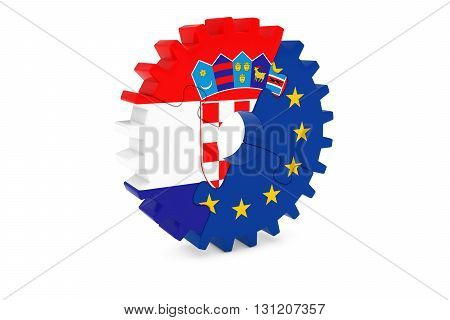 Croatian And European Cooperation Concept 3D Illustration