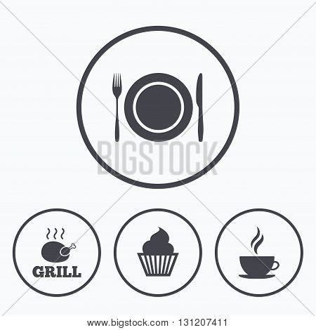 Food and drink icons. Muffin cupcake symbol. Plate dish with fork and knife sign. Hot coffee cup. Icons in circles.