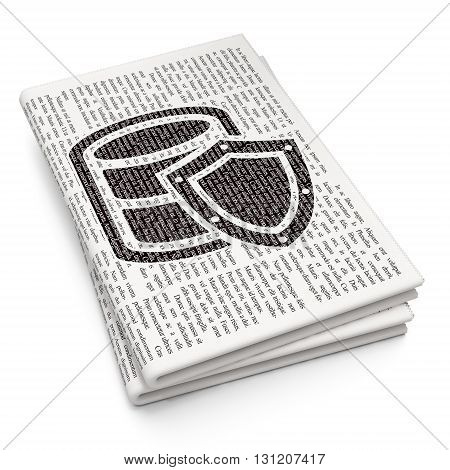 Programming concept: Pixelated black Database With Shield icon on Newspaper background, 3D rendering