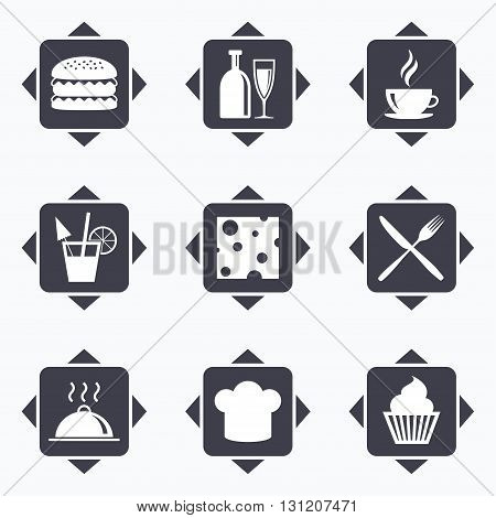 Icons with direction arrows. Food, drink icons. Coffee and hamburger signs. Cocktail, cheese and cupcake symbols. Square buttons.