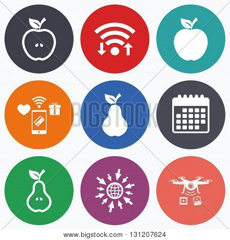 Wifi, mobile payments and drones icons. Fruits with leaf icons. Apple and Pear with seeds signs. Natural food symbol. Calendar symbol.