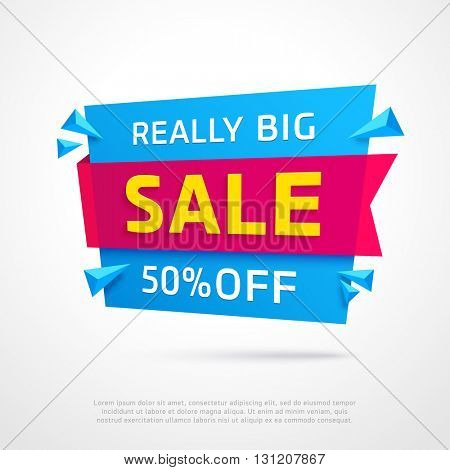 Ecommerce bright vector banner. Nice plastic cards in material design style. Transparent blue paper with ping ribbon.