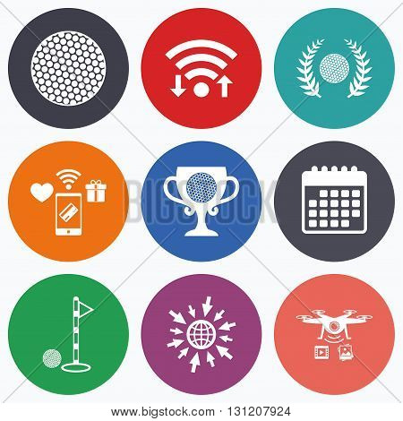 Wifi, mobile payments and drones icons. Golf ball icons. Laurel wreath winner award cup sign. Luxury sport symbol. Calendar symbol.
