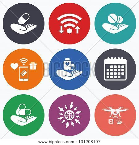 Wifi, mobile payments and drones icons. Helping hands icons. Medical health insurance symbols. Drugs pills bottle signs. Medicine tablets. Calendar symbol.