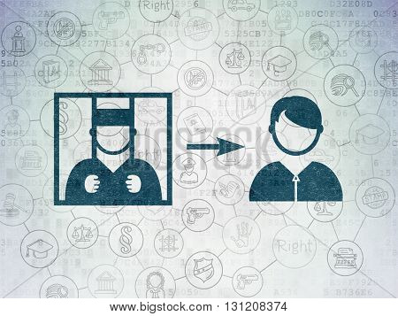 Law concept: Painted blue Criminal Freed icon on Digital Data Paper background with Scheme Of Hand Drawn Law Icons