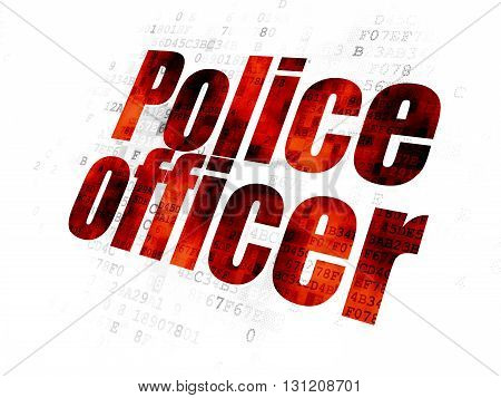 Law concept: Pixelated red text Police Officer on Digital background