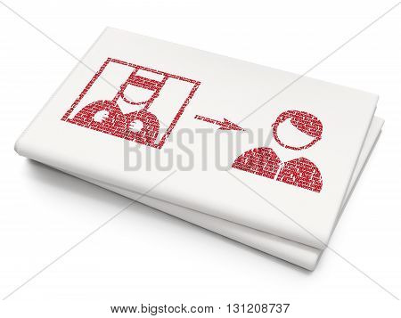 Law concept: Pixelated red Criminal Freed icon on Blank Newspaper background, 3D rendering
