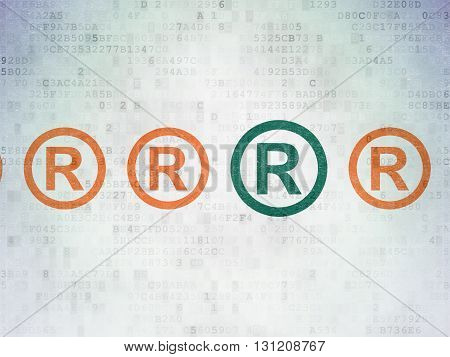 Law concept: row of Painted orange registered icons around green registered icon on Digital Data Paper background