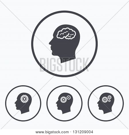 Head with brain icon. Male human think symbols. Cogwheel gears signs. Icons in circles.