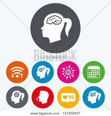 Wifi, like counter and calendar icons. Head with brain icon. Female woman think symbols. Cogwheel gears signs. Human talk, go to web.